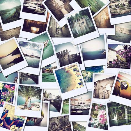 다른 장소와 풍경의 사진과 함께 모자이크, 스냅 샷은 소셜 네트워킹 서비스에 업로드 스톡 콘텐츠