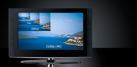 big screen tv: 4K television display with comparison of resolutions  Ultra HD on on modern TV