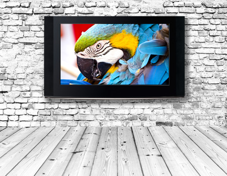 tv panel: interior with a television set on an old wall Stock Photo