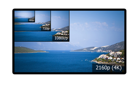 4K television display with comparison of resolutions  Ultra HD on on modern TV