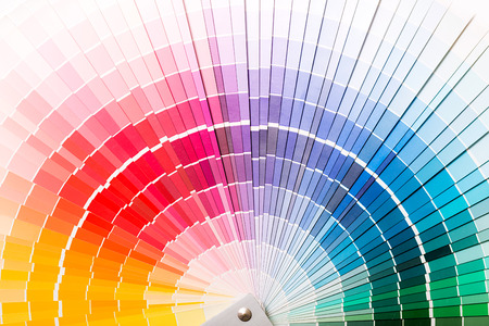 descriptive colors: Colour swatches book  Rainbow sample colors catalogue  Stock Photo