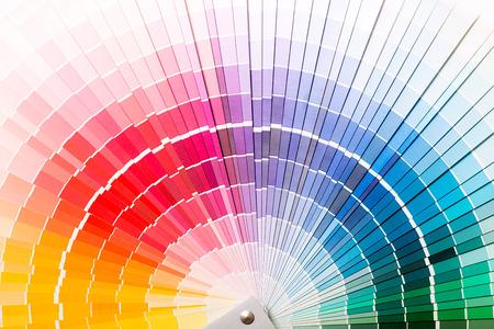 Colour swatches book  Rainbow sample colors catalogue  Foto de archivo