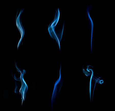Blue abstract smoke collection on black background