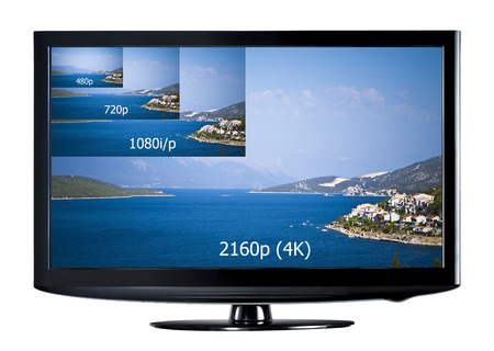 resolutions: 4K television display with comparison of resolutions  Ultra HD on on modern TV