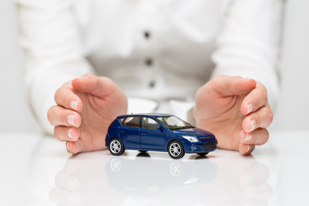 car in garage: Protection of car  Business concept  Stock Photo