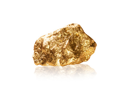 tough luck: Gold nugget isolated on white background