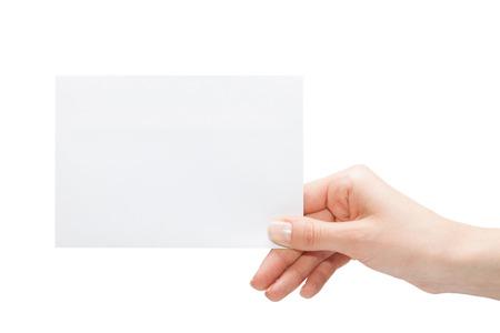 Hand houden blanco visitekaartje