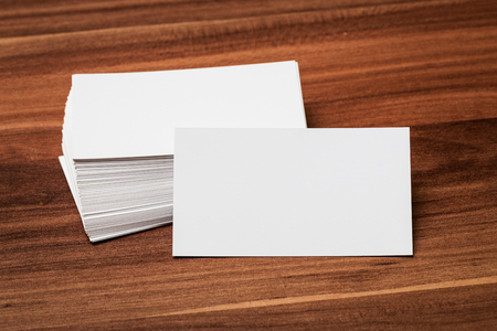 post card: Blank corporate identity package business card on wood