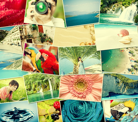 Mosaic with pictures of holiday, snapshots uploaded to social networking services  photo