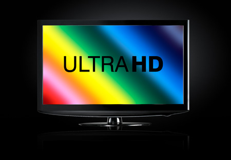 high definition: 4K television display with comparison of resolutions Stock Photo