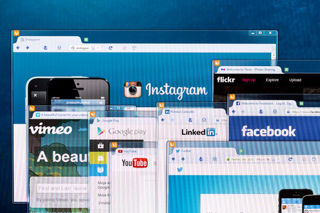 BELCHATOW, POLAND - APRIL 11, 2014  Photo of social network homepage on a monitor screen