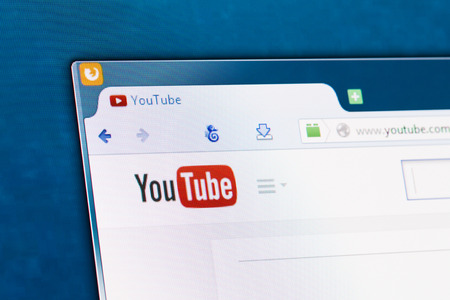 BELCHATOW, POLAND - APRIL 11, 2014  Photo of Youtube social network homepage on a monitor screen