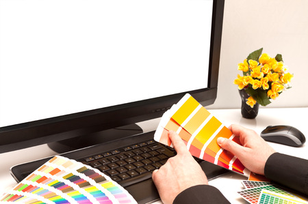 Graphic designer at work  Color samples  Space your photo or image  photo