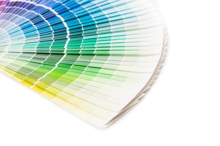 descriptive color: Colour swatches book  Rainbow sample colors catalogue  Stock Photo
