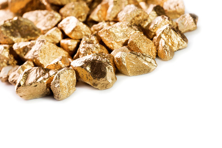 tough luck: Gold nuggets isolated on white background