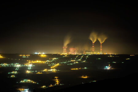 electricity grid: coal power station and night - Belchatow Poland