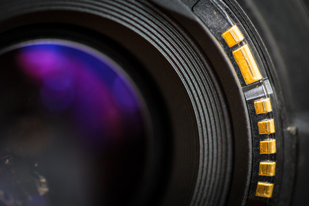 Camera lens back sight close up image  Stock Photo