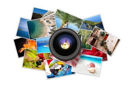 Ein Haufen von Fotografien mit leeren Raum