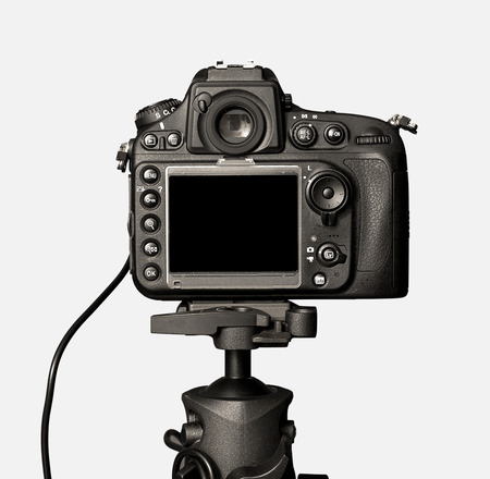 한 흑인 카메라는 흰색 배경에 고립 스톡 콘텐츠 - 28321304