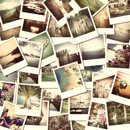 mosaico con imágenes de diferentes lugares y paisajes, instantáneas cargadas a los servicios de redes sociales Foto de archivo