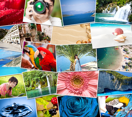 Mosaic with pictures of holiday, snapshots uploaded to social networking services Stock Photo - 28321572