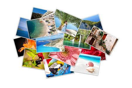 Ein Haufen von Fotografien mit leeren Raum Standard-Bild