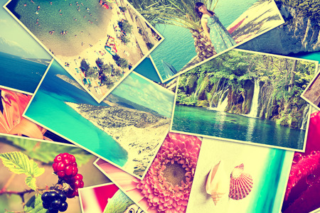 Mosaic with pictures of holiday, snapshots uploaded to social networking services Stock Photo - 28321580