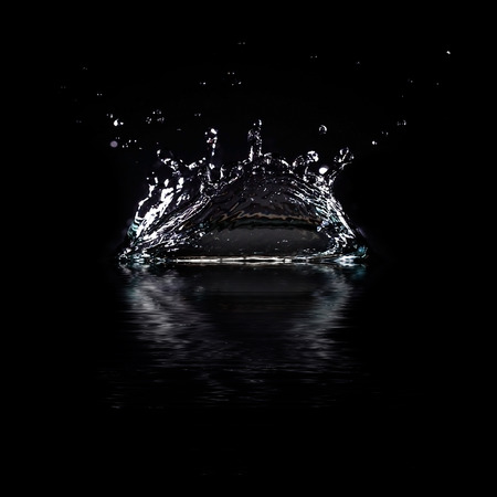 Water splash isolated on black background  Beautiful abstract
