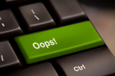 no mistake: oops word on key showing fail failure mistake or sorry concept Stock Photo