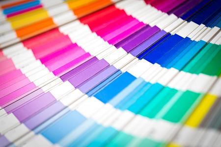 descriptive color: Colour swatches book  Rainbow Pantone sample colors catalogue