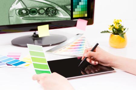 pantone: Graphic designer at work  Color swatch samples