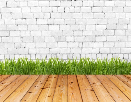 Old wall and green grass on wood floor background  High resolution  photo