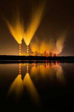 cooling towers: coal power station and night - Belchatow Poland