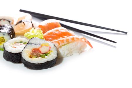 maki: Sushi assortment isolated on white background