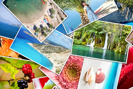 Mosaic with pictures of holiday, snapshots uploaded to social networking services. Stock Photo
