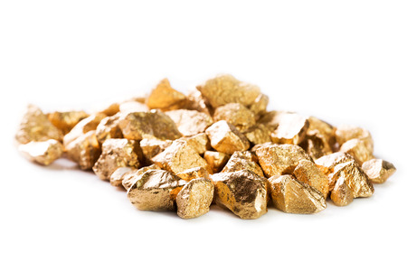 Gold nuggets isolated on white background. photo