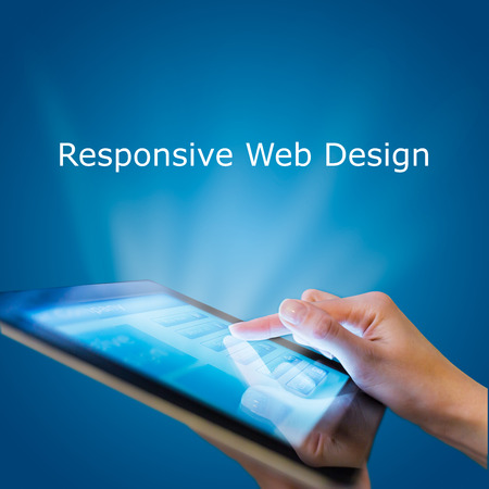 web designing: Responsive web design on mobile devices tablet pc on blue background