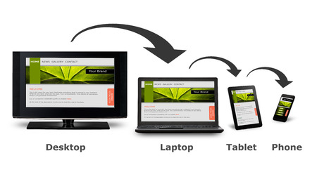 web site: Responsive web design on mobile devices phone, laptop and tablet pc