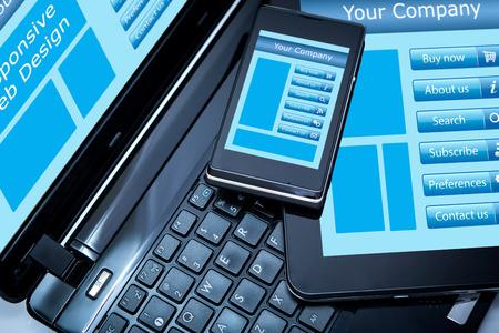 plantilla de sitio web: Dise�o web Responsive en dispositivos m�viles tel�fono, ordenador port�til y Tablet PC