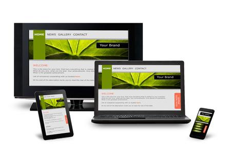 Responsive Web-Design auf mobile Geräte Handy, Laptop und Tablet-PC Standard-Bild - 32310118
