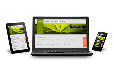 Responsive web design on mobile devices phone, laptop and tablet pc photo