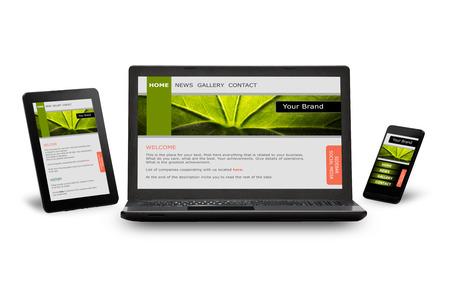 Responsive Webdesign auf mobilen Geräten Handy, Laptop und Tablet-PC Standard-Bild
