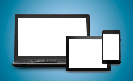 notebook design: Responsive web design on mobile devices phone, laptop and tablet pc