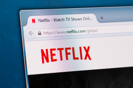 vod: BELCHATOW, POLAND - January 06, 2015: Photo of the Netflix website on a monitor screen.