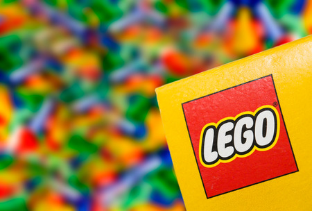 BELCHATOW, POLAND - January 06, 2015: Illustrative editorial photo of logo LEGO on the box. Editorial