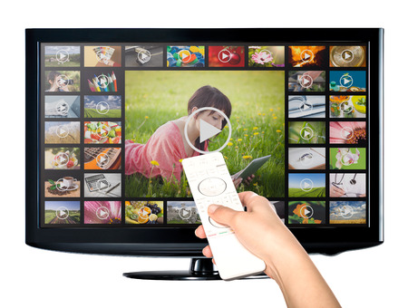 Video on Demand VOD service op tv televisie concept. Stockfoto