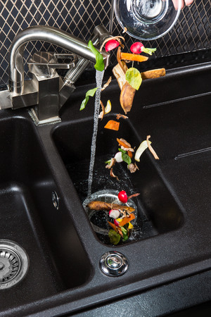 Disposer food waste machine for your kitchen. Foto de archivo