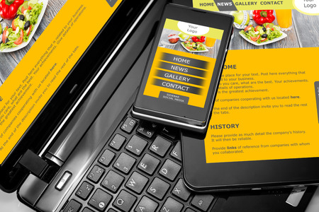 website design: Responsive web design on mobile phone devices laptop and tablet pc