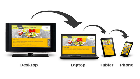 design web: Responsive web design on mobile devices phone, laptop and tablet pc