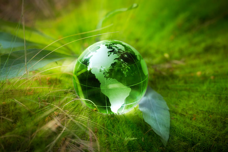 Crystal globe resting on moss in a forest. Banco de Imagens - 42356357